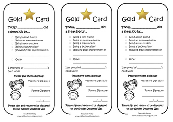 Gold Card Positive Behaviour Note
