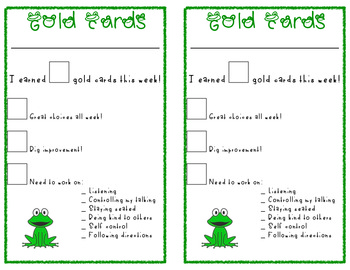 Gold Card Weekly Report - Classroom Management System