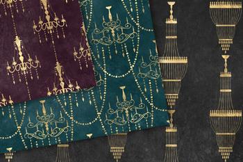 Gold Chandelier Digital Paper