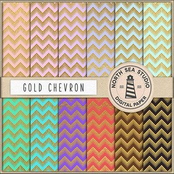 Gold Chevron Digital Paper