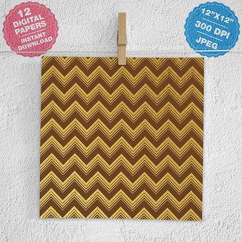 Gold Chevron Digital Paper, Gold ZigZag Patterns