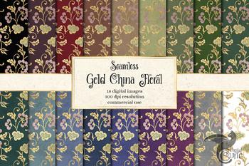 Gold China Floral Digital Paper