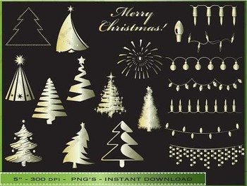 Gold Christmas Clipart - Golden Design