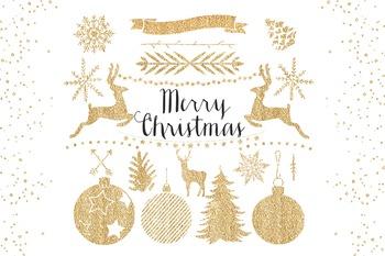 Gold Christmas Clipart Set - gold glitter elements