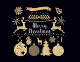 Gold Christmas Clipart Set - gold glitter elements
