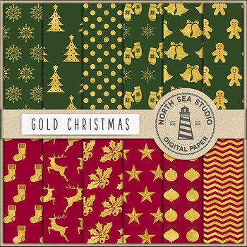 Gold Christmas Digital Paper