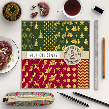 Gold Christmas Digital Paper, Gold Patterns, Green & Red Backgrounds