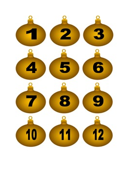 Gold Christmas Ornament Numbers for Calendar or Counting Activity