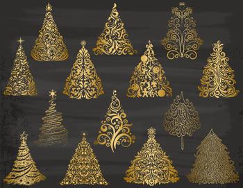 Gold christmas tree clip art flourish swirls golden christmas