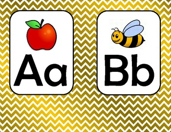 Gold Classroom Theme - Letters of the Alphabet Poster
