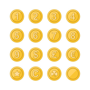 Gold Coin Clipart, Game Coins Clipart, Star Coins, Shamrock Coins, Number Coins