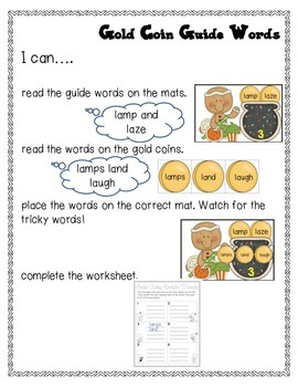 Gold Coin Guide Words 3.L.3.2g Dictionary Skills St. Patrick's Day