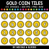 Gold Coin Letter and Number Tiles Clipart
