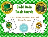Gold Coin Measurement Task Cards: Radius, Diameter, Circumference, Area