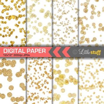 Gold Confetti Digital Paper, Glitter Confetti Digital Backgrounds