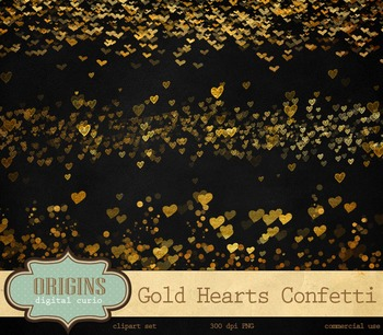 Gold Confetti Hearts Valentine Party Clipart Overlays