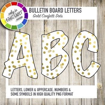 Bulletin Board Letters Gold Confetti Pattern Letters Printable Classroom decor