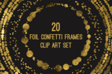 Gold Confetti Round Frames 20 PNG Clip Art 8in Foil Metallic