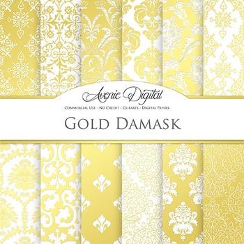 Gold Damask Digital Paper patterns - gold foil ornate floral backgrounds