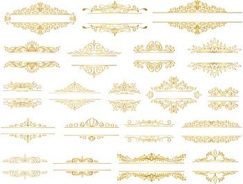 Gold Digital Frame Clip Art Golden Flourish Swirls Frames