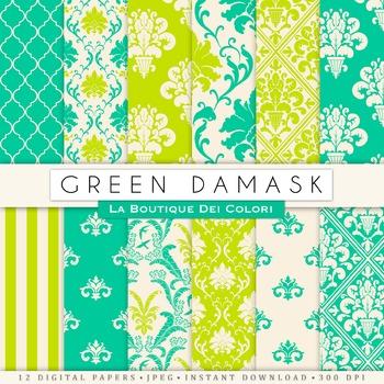 Green Damask Digital Paper, Scrapbook Backgrounds