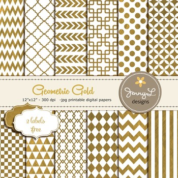Gold Digital Papers, Geometric Gold Foil Digital papers