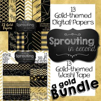 Gold Digital Papers & Washi Tape {BUNDLE}