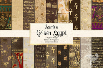 Gold Egyptian Digital Paper, seamless Egypt backgrounds