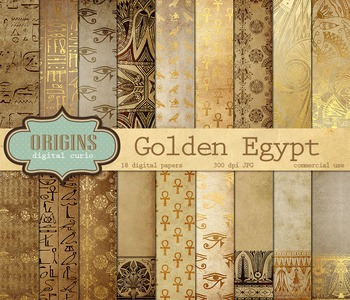 Gold Egyptian Hieroglyphics Digital Scrapbook Paper Backgrounds