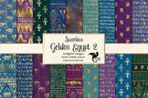 Gold Egyptian digital paper, seamless Egypt hieroglyphics patterns