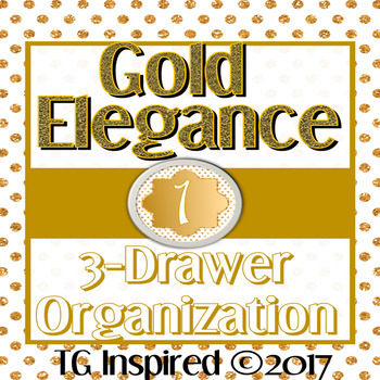3-drawer Organizer Box Labels -- Editable & Pre-populated -- Gold Elegance 1