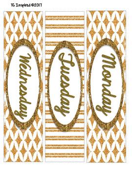 3-drawer Organizer Box Labels -- Editable & Pre-populated -- Gold Elegance 2