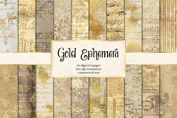 Gold Ephemera Digital Paper, vintage damask backgrounds