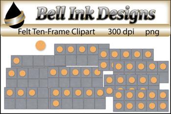 Gold Felt Ten Frames Clipart