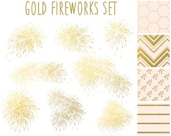 Gold Fireworks Clipart, New Year, Gold Paper, Fireworks Clipart Set #055