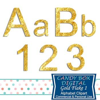 Gold Flake Block Alphabet Clip Art