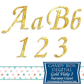 Gold Flake Cursive Alphabet Clip Art