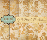 Gold Floral Parchment digital paper textures vintage grunge antique backgrounds