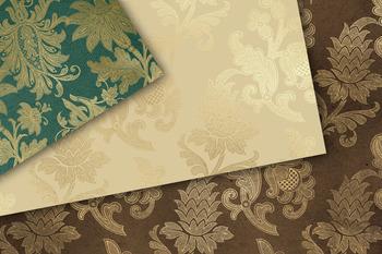 Gold Floral Scroll Digital Paper