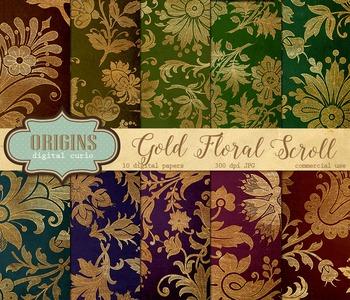 Gold Floral Scroll Digital paper vintage backgrounds textures