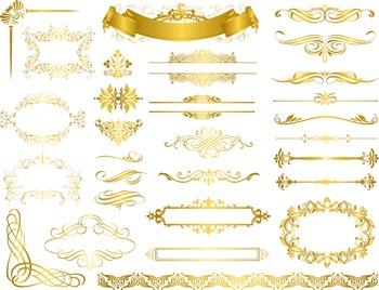 gold frame border fancy gold flourish swirl frame border clip art vintage golden