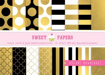 Gold Foil, Black and White Digital Paper Pack - by Sweet Papers