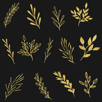 Gold Foil Branches And Leaves - Plants Clipart