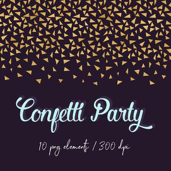 Gold Confetti Clipart, Gold Foil Digital Confetti Borders, Gold Confetti Scraps