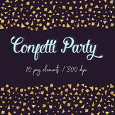 Gold Confetti Clipart, Gold Foil Digital Confetti Borders,
