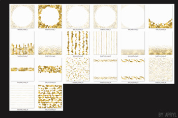 Gold Foil Confetti Overlays 20 PNG Clip Art for 12x12 Papers