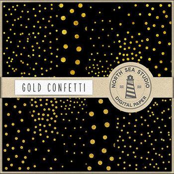 Gold Foil Confetti Paper, Black And Gold Confetti Backgrounds