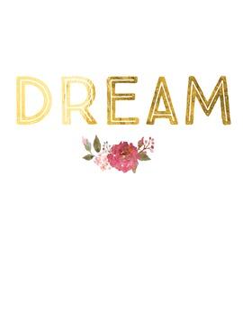Gold Foil Inspirational Poster:  Dream
