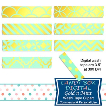 Gold Foil & Mint Digital Washi Tape for Photobooks and Picture Sharing