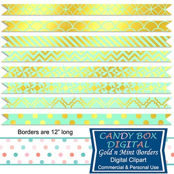 Gold Foil & Mint Ribbon Borders for Newsletters, Cards, an